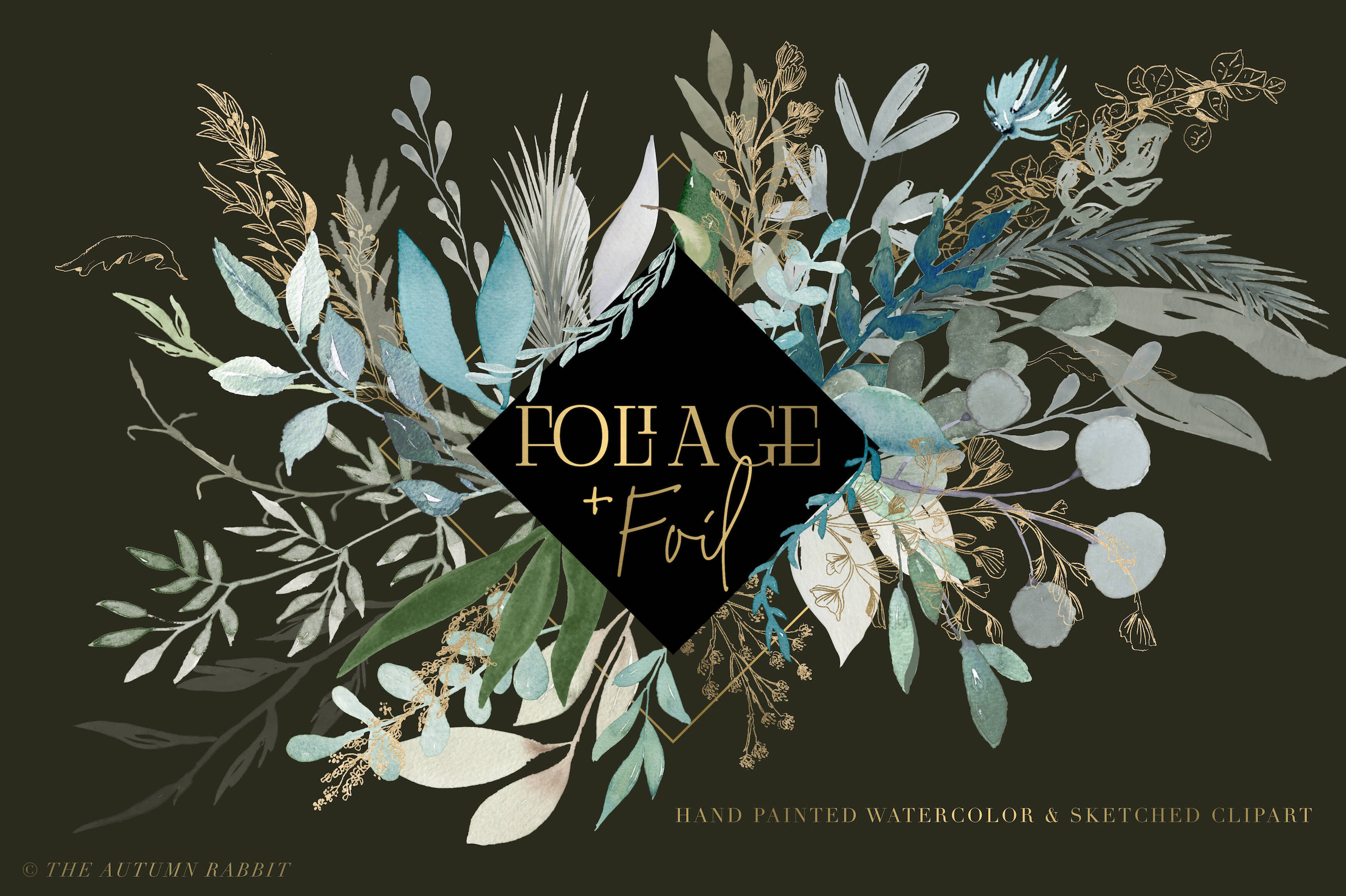 Foliage and Foil Botanical Clipart example image 3