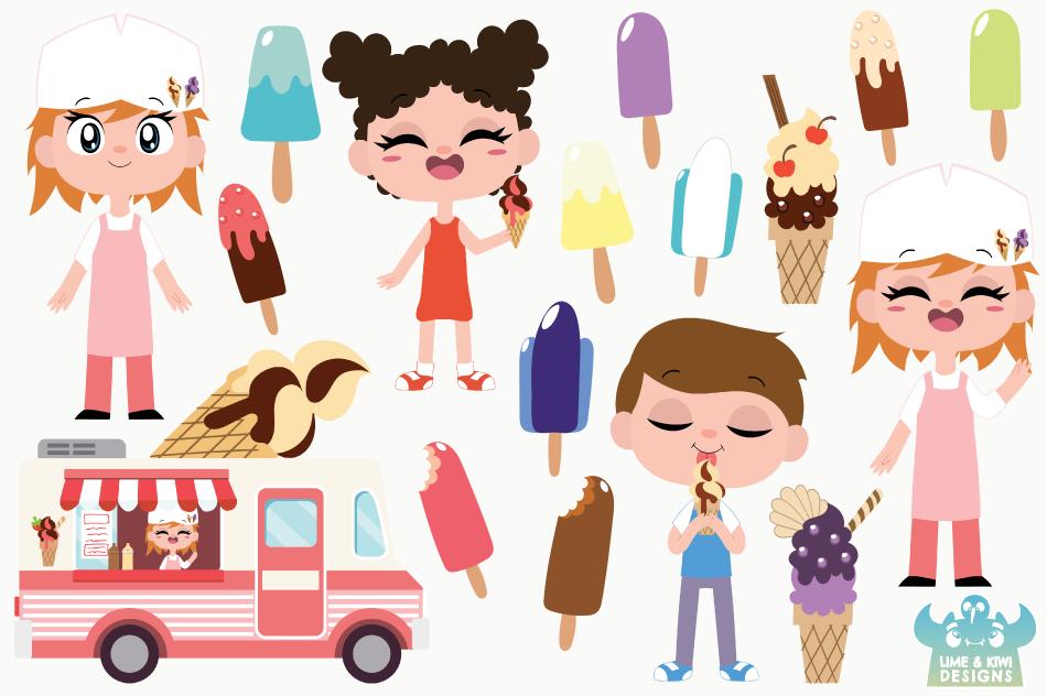 Icecream Van Pink Clipart, Instant Download Vector Art example image 2