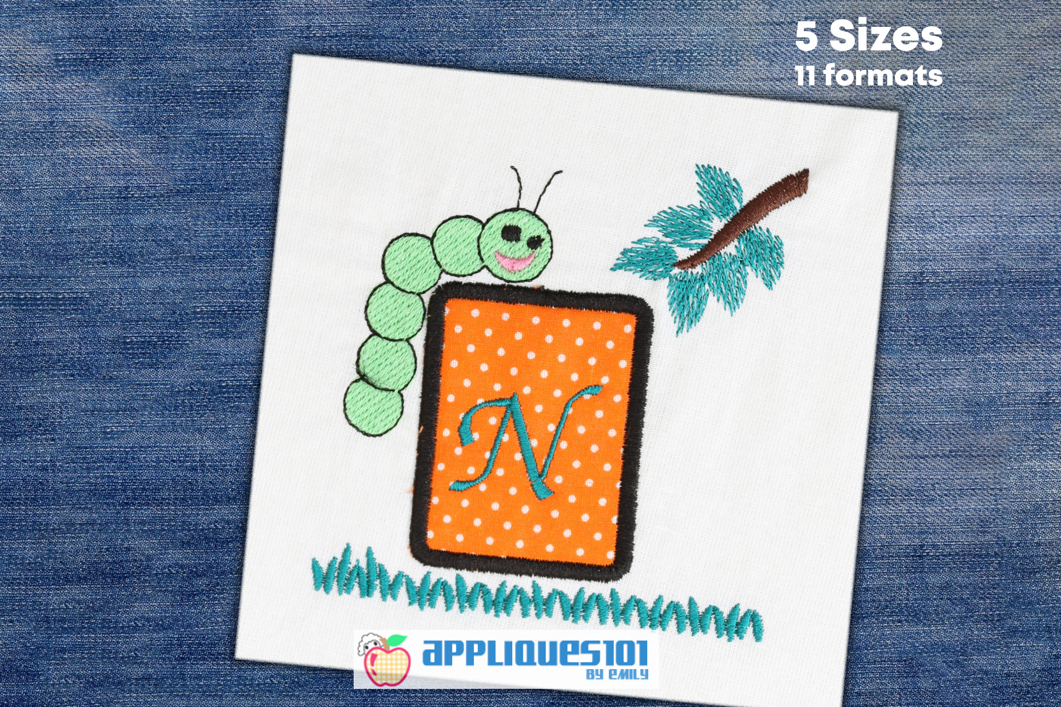 Worm With Letter Frame Embroidery Applique Design - Frames example image 1