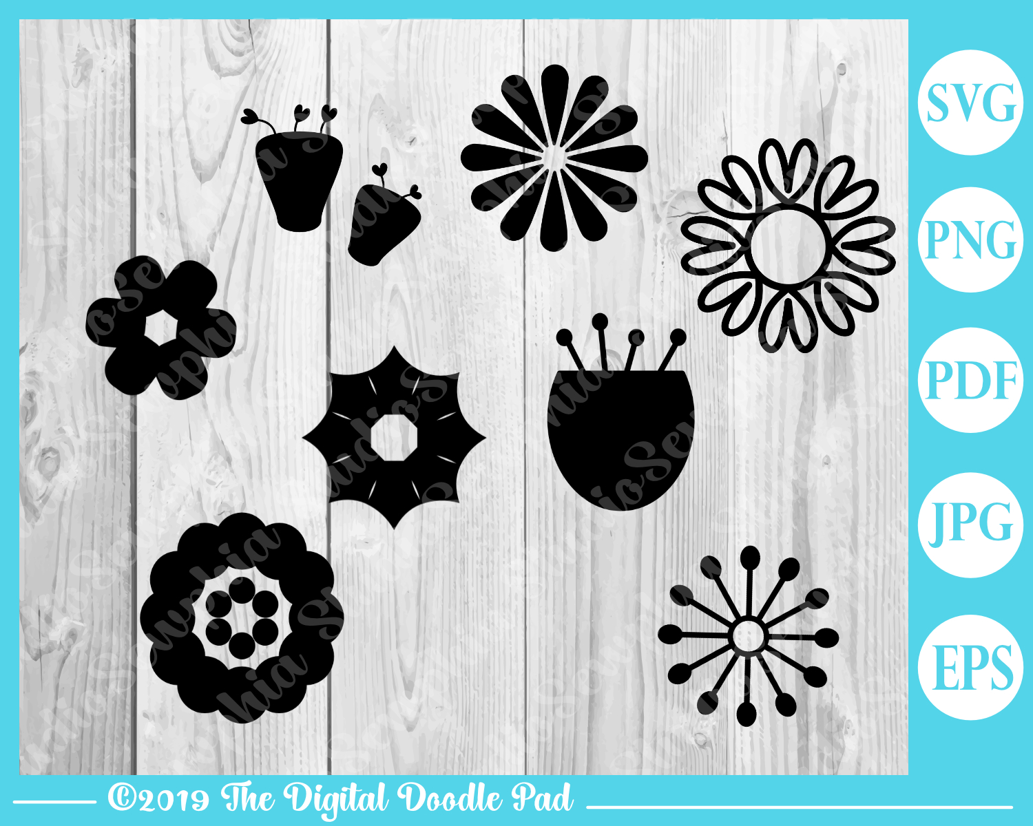 Flower and Stem Templates by Digital Doodle Pad example image 2