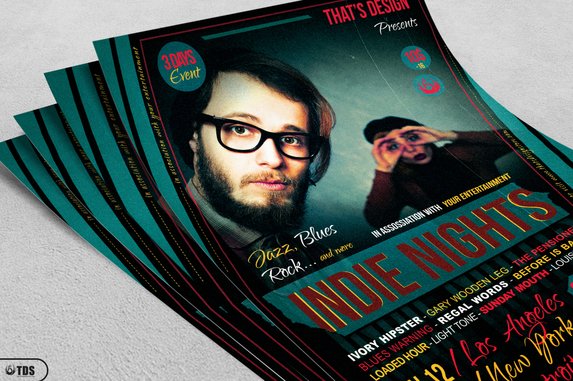 Indie Nights Flyer Template example image 3