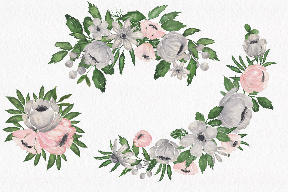 Gray and Pink Blooming. Watercolour clipart collection. example image 6