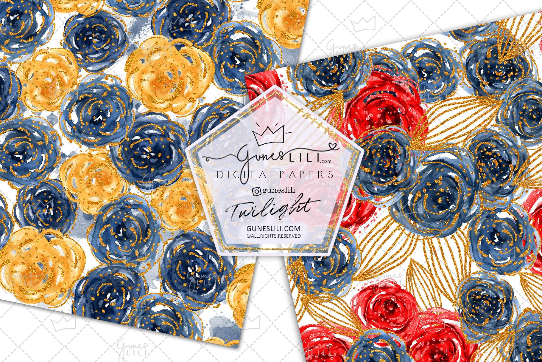 Watercolor Floral Digital Paper Flowers Seamless Pattern example image 5