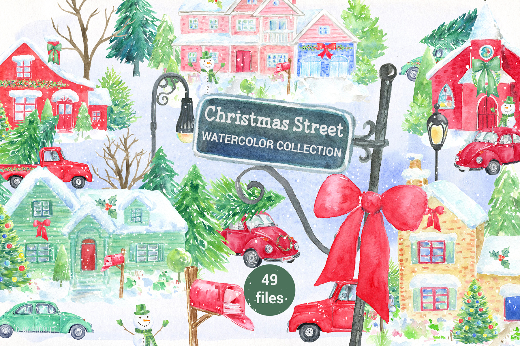 Watercolor Christmas Street  example image 1