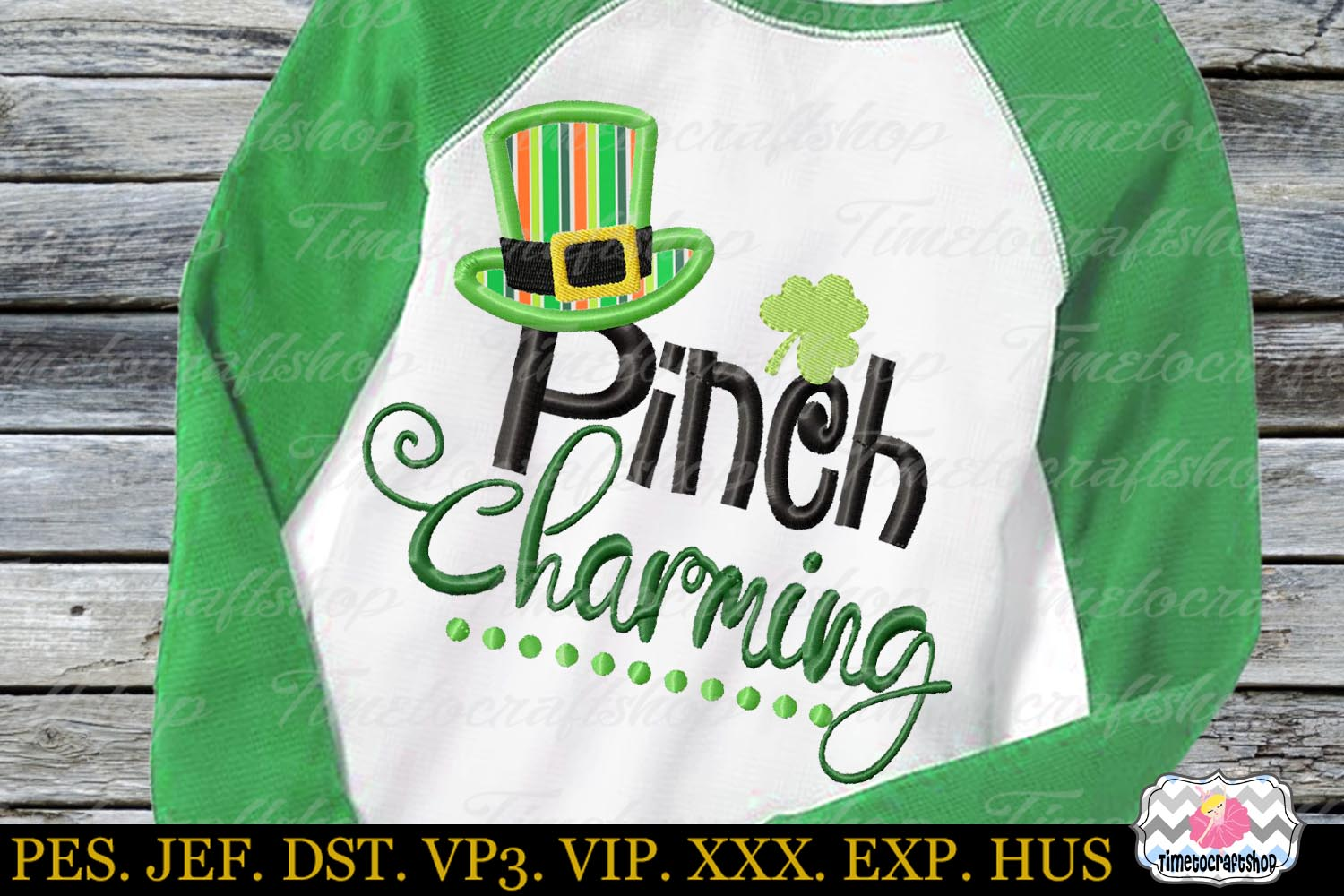 St Patricks Day Pinch Charming Embroidery Applique Design example image 1
