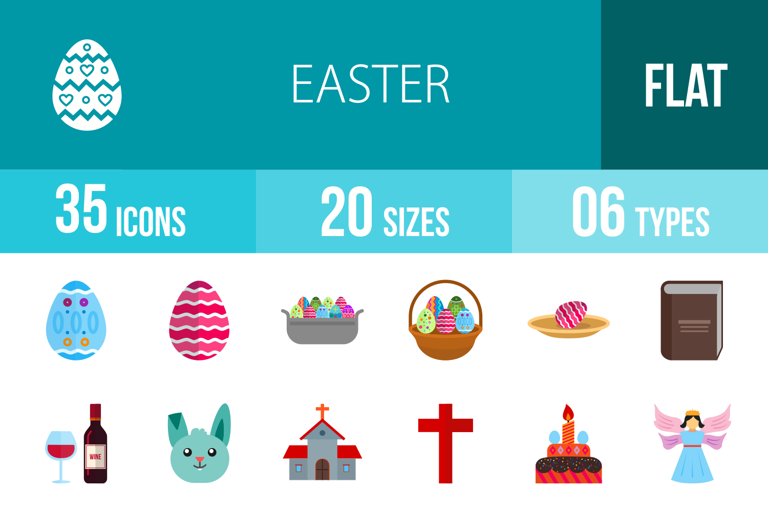 35 Easter Flat Multicolor Icons example image 1