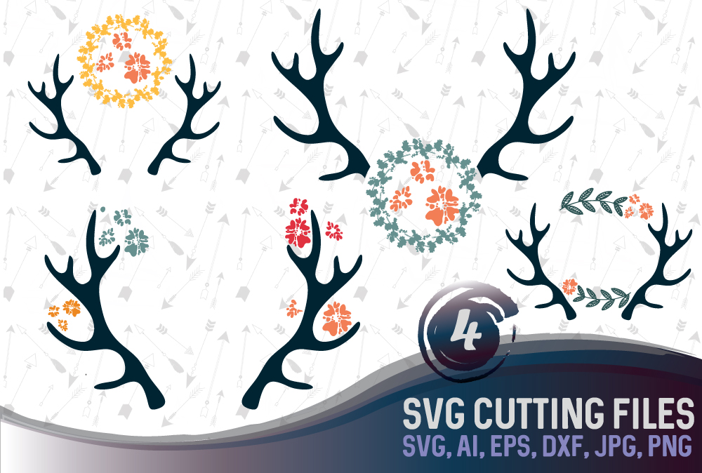 Antlers and flowers Bundle SVG, DXF, JPG, PNG, DWG, AI, EPS example image 1