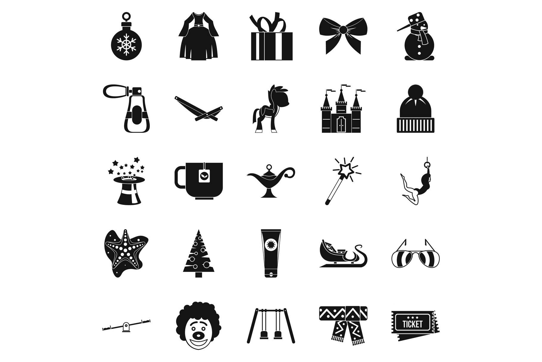 Little people icons set, simple style example image 1