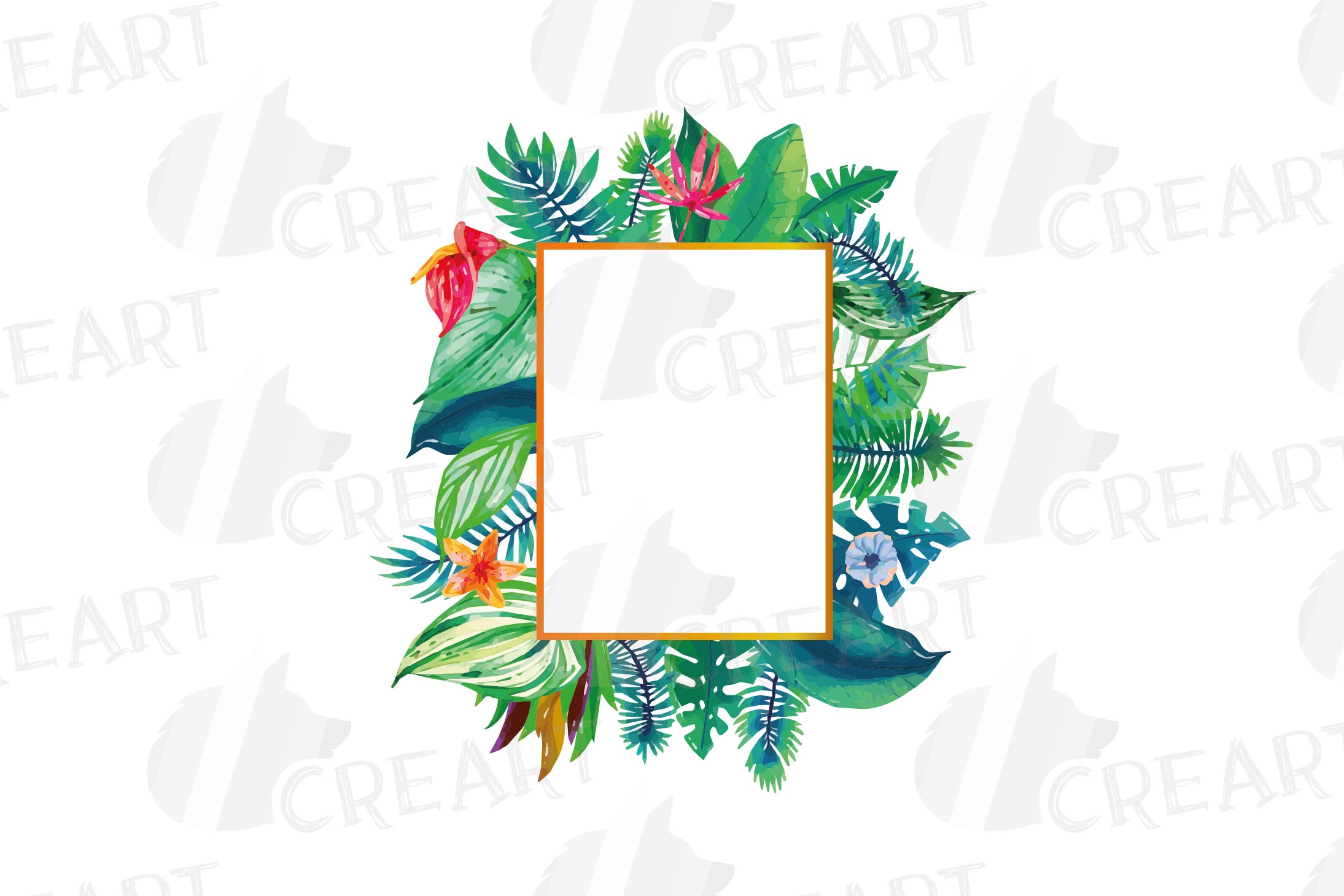 Watercolor tropical navy blue and green exotic floral frames example image 12