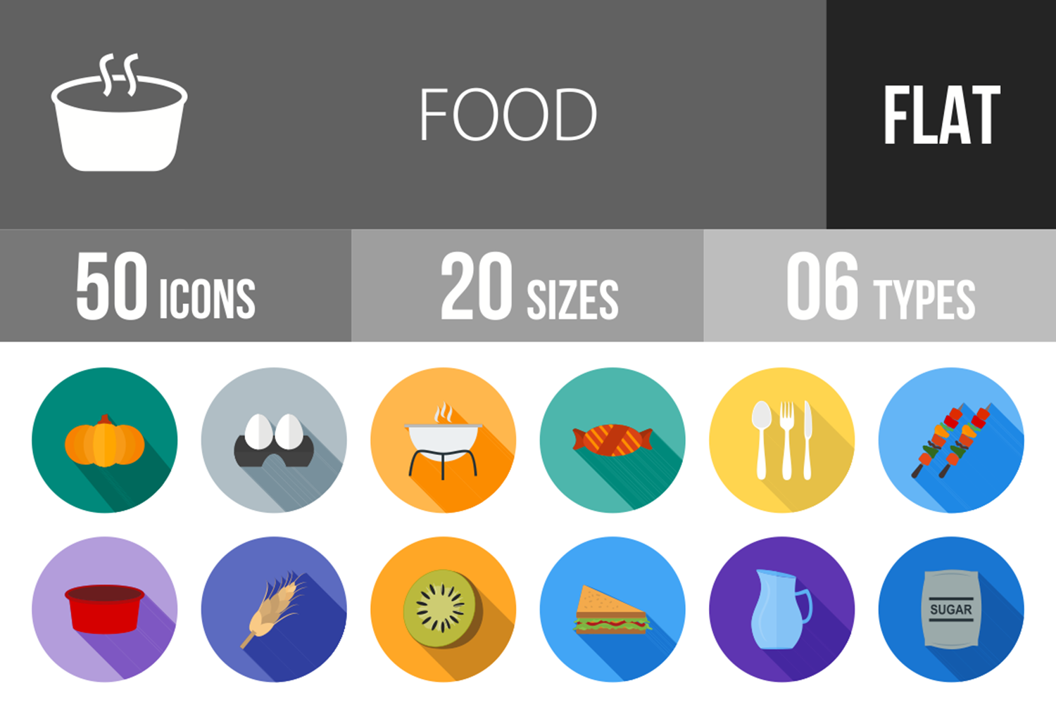50 Food Flat Long Shadow Icons example image 1