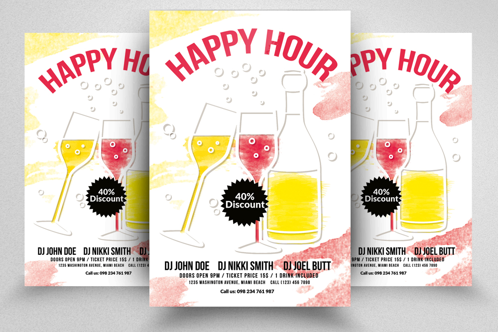 10 Happy Hour Flyer Template Bundle example image 3
