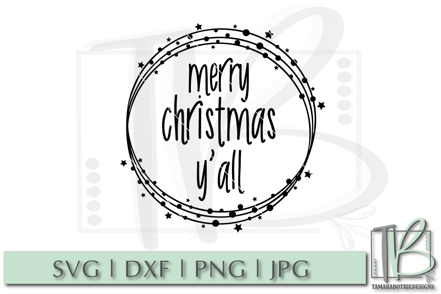 Merry Christmas Y'all SVG, Christmas Cut file example image 2