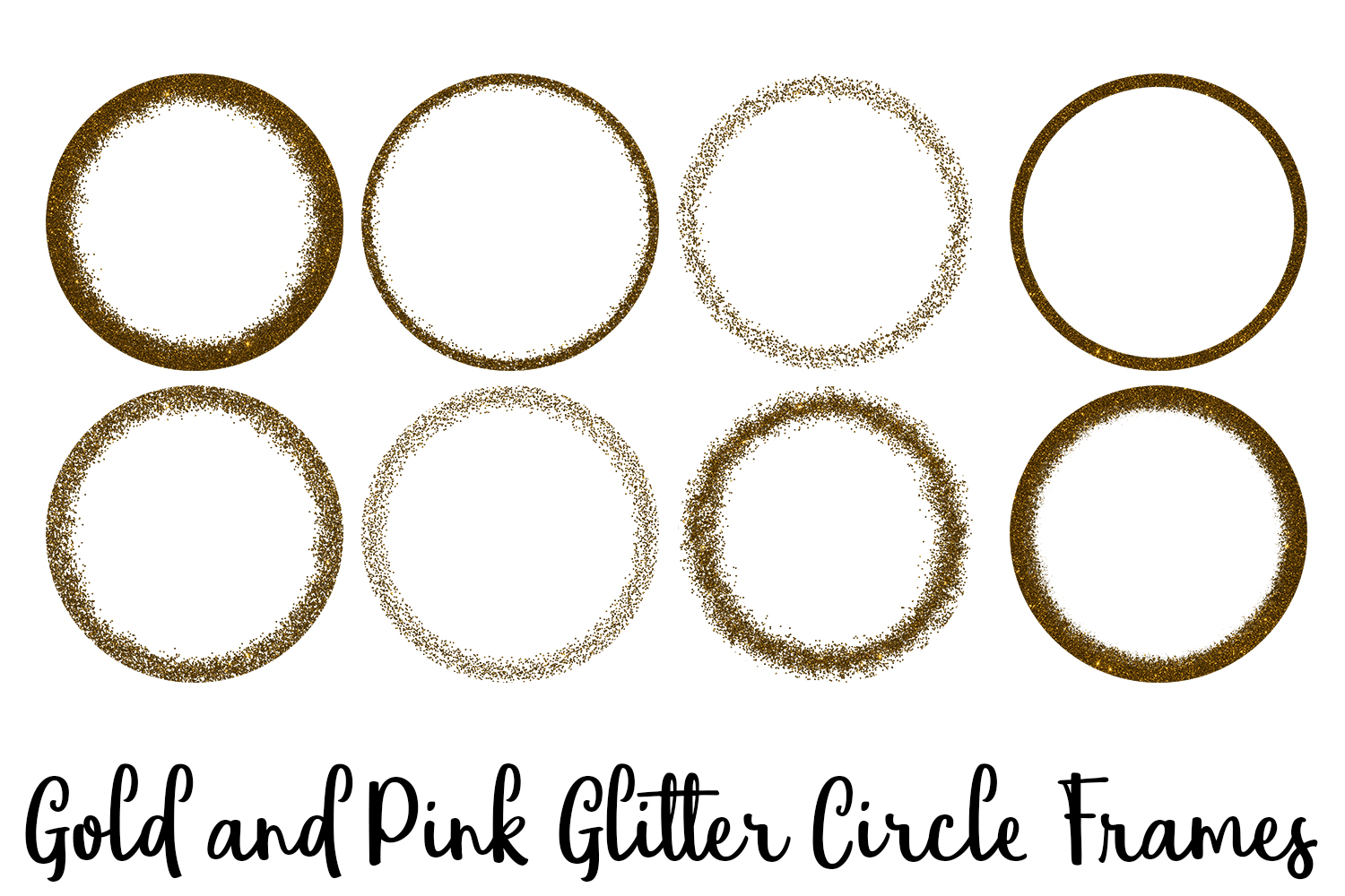 Gold and Pink Glitter Circle Frames Clip Art example image 4
