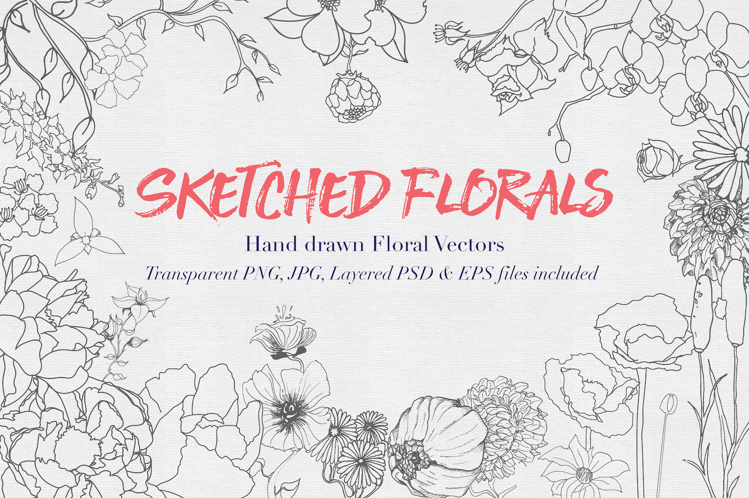 Hand drawn Sketched Flower Vectors example image 1