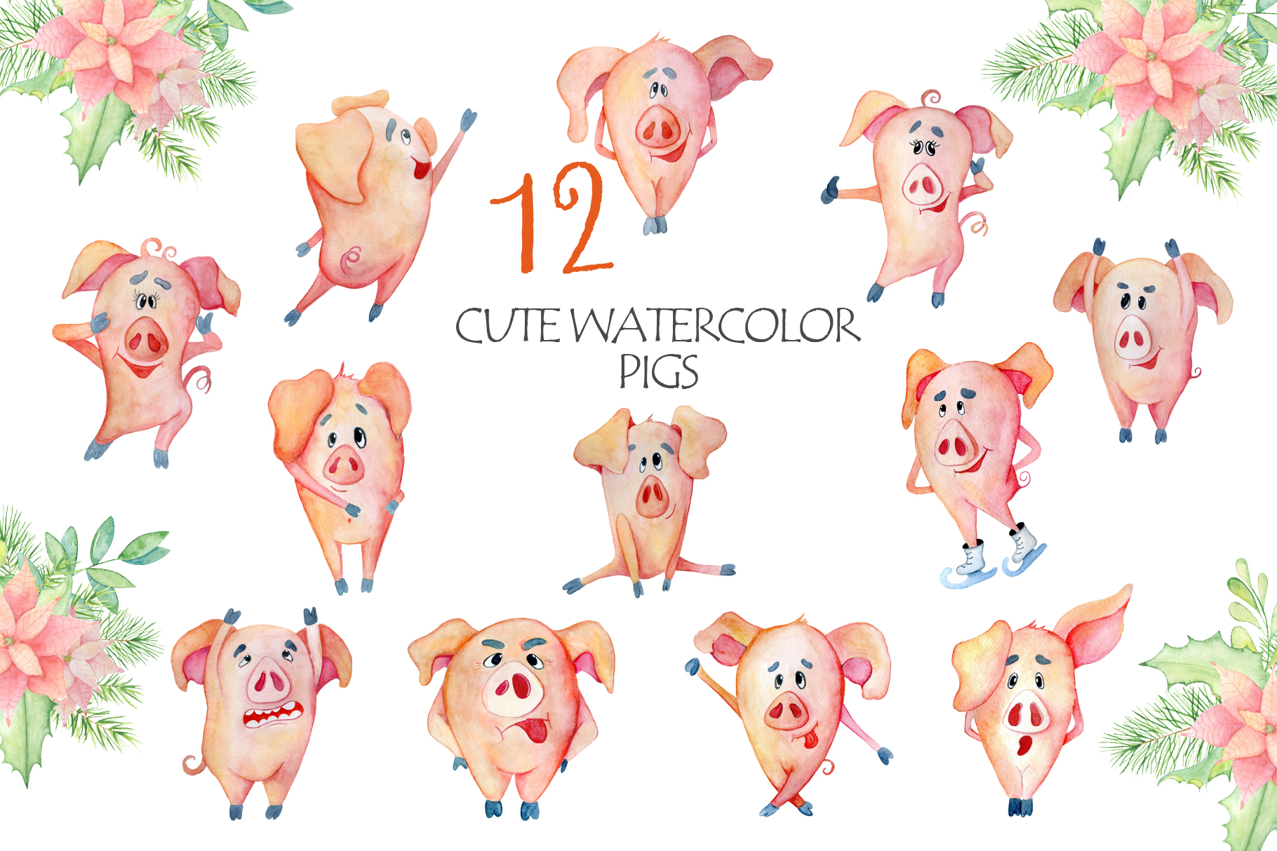 Cute Christmas pigs with decor elements for New Year 2019 example image 2