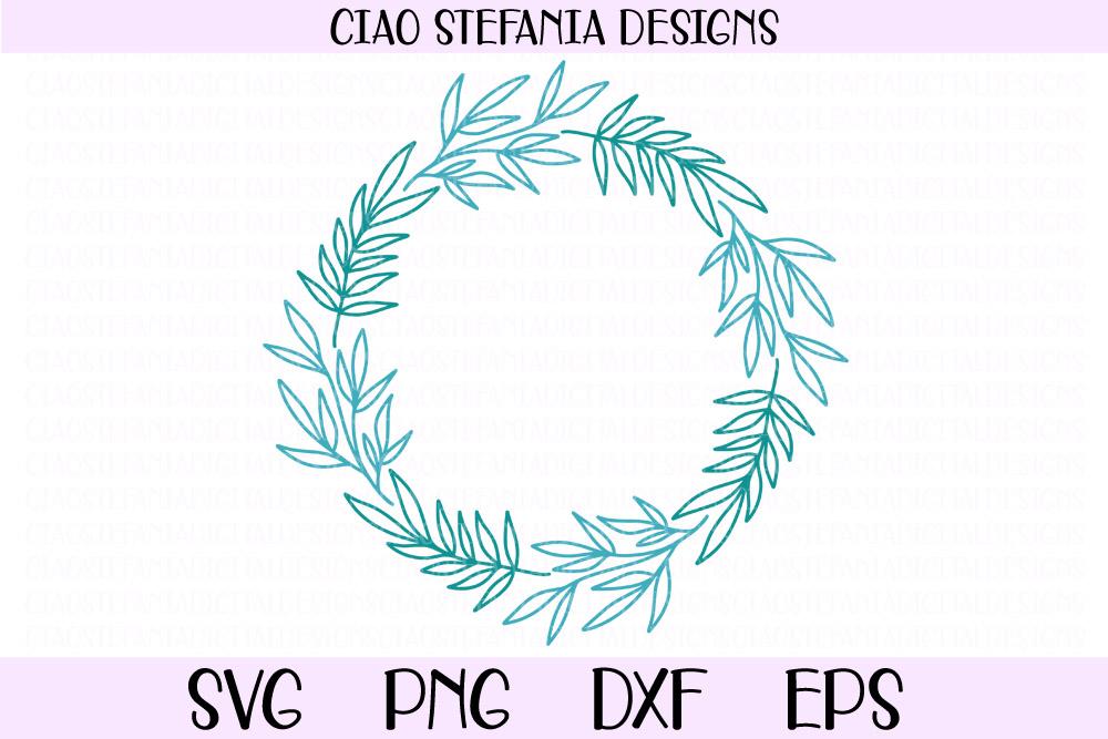 Leaves Wreath Laurel Frame SVG PNG DXF EPS Cut File example image 1