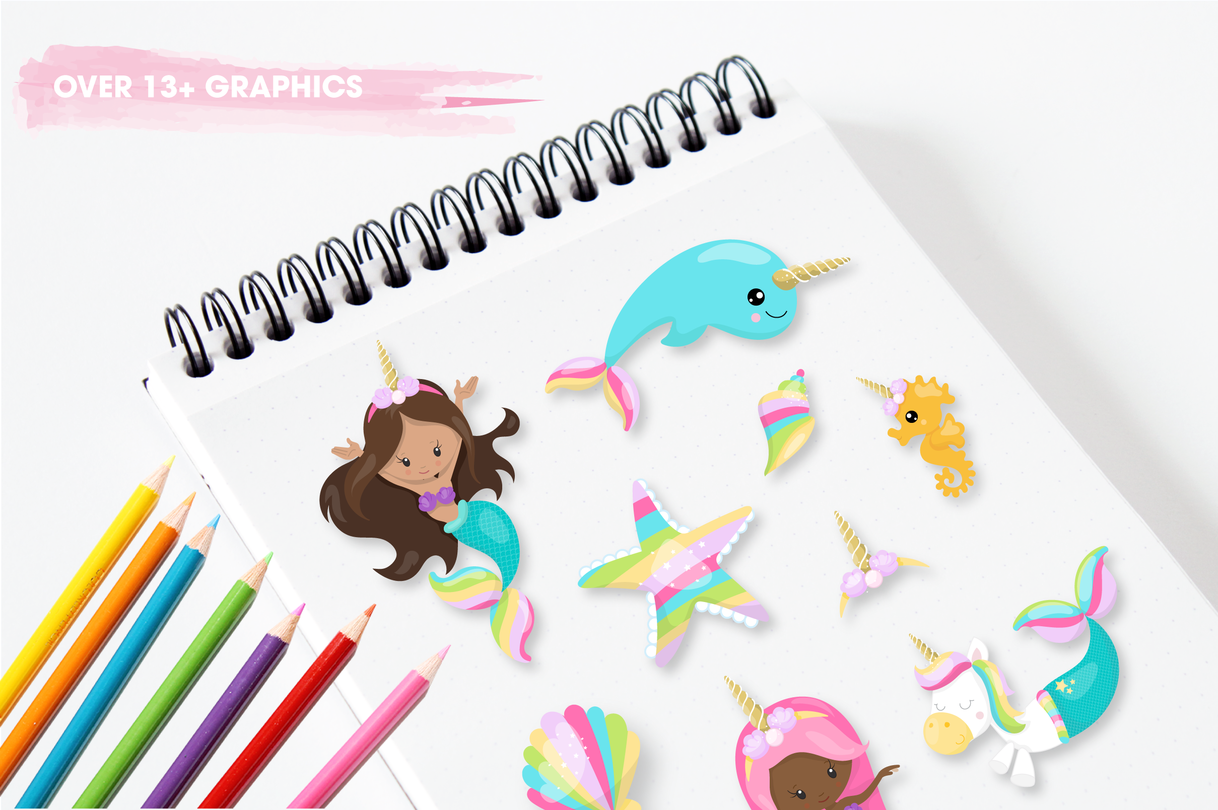 unicorn mermaid graphics and illustrations example image 4