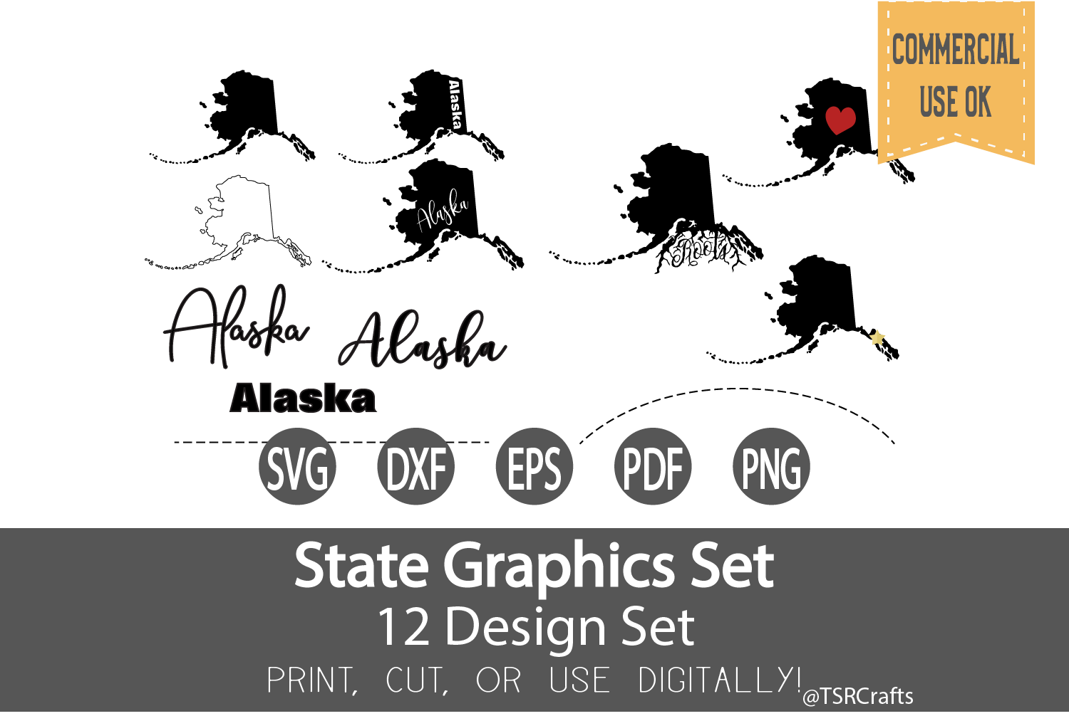 Alaska State Graphics Set - Clip Art and Digital Cut files example image 1