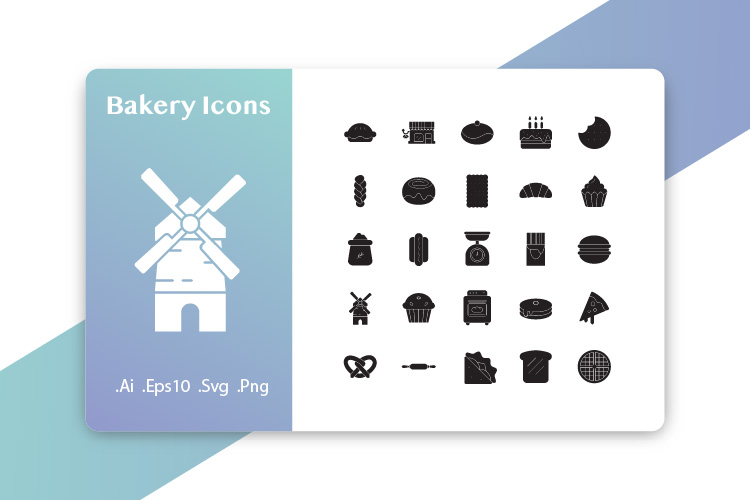 25 Bakery Icons Glyph example image 1