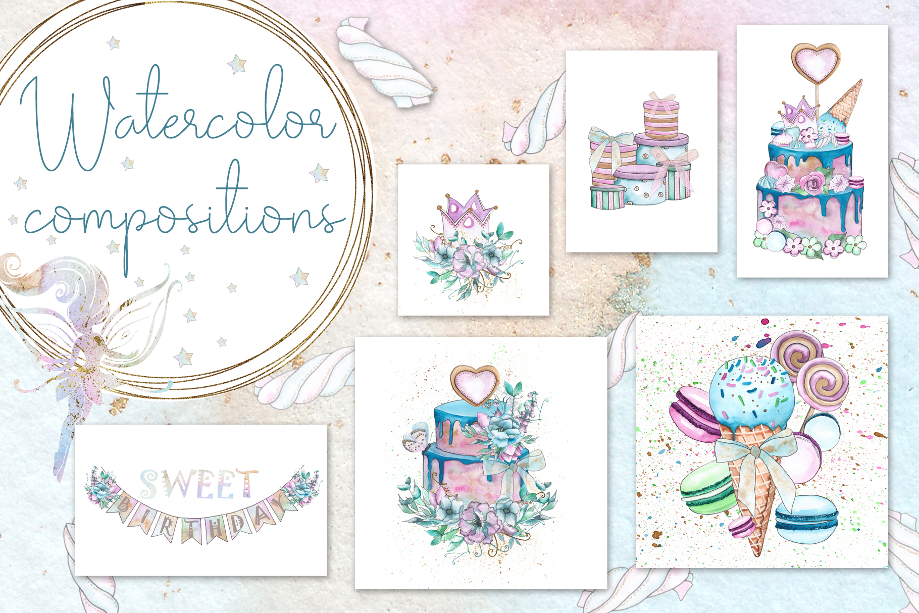 Charming party. Watercolor collection example image 12