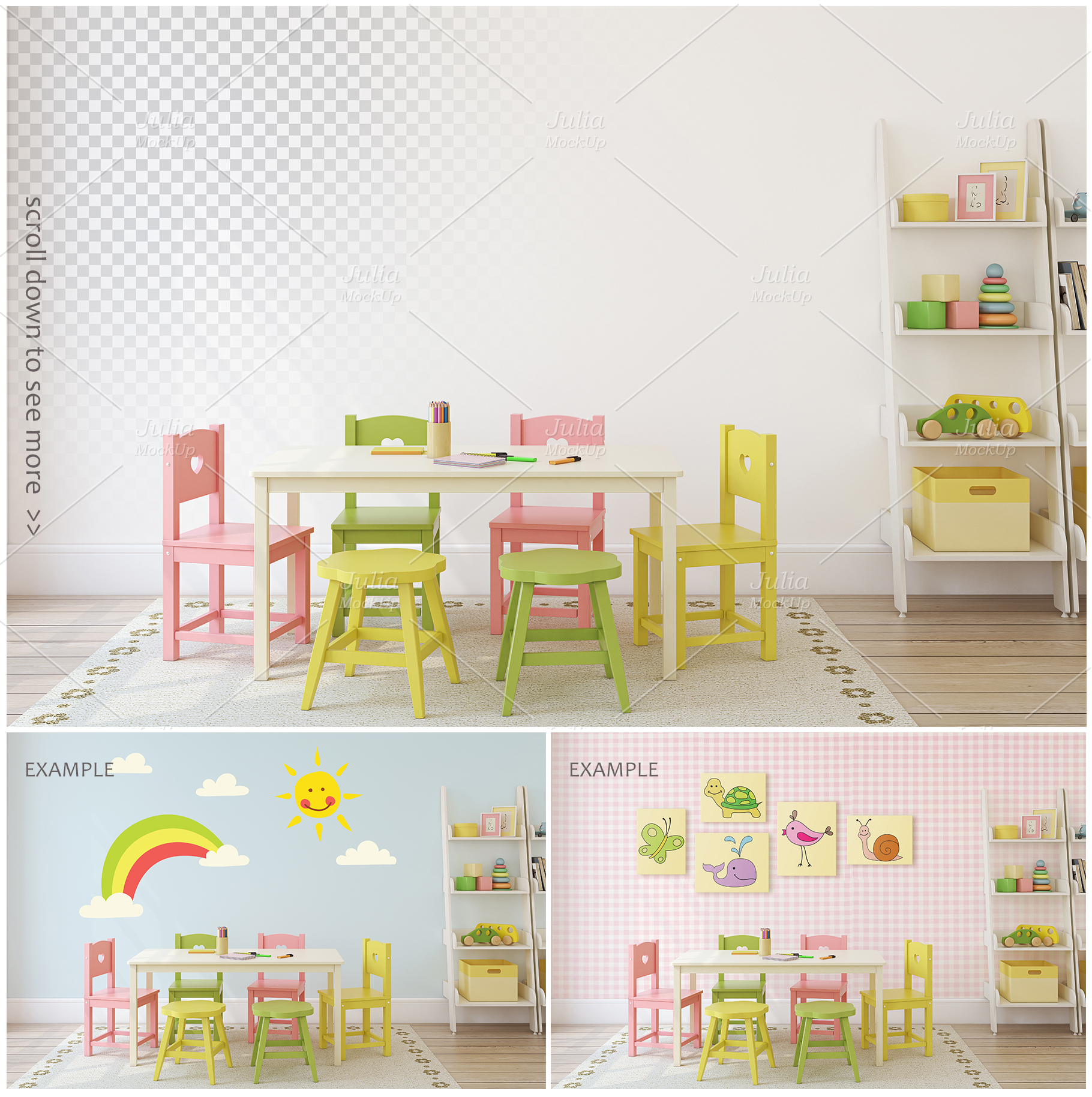 Kid's interiors. Wall&Frames Mockup. example image 6