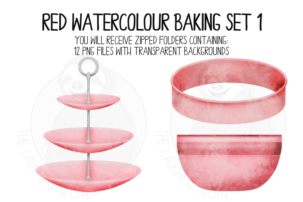 Red Watercolor Baking Clip Art Set example image 3