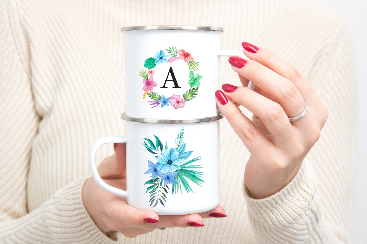 Enamel mug mockup woman holding two Camp sublimation mugs example image 2