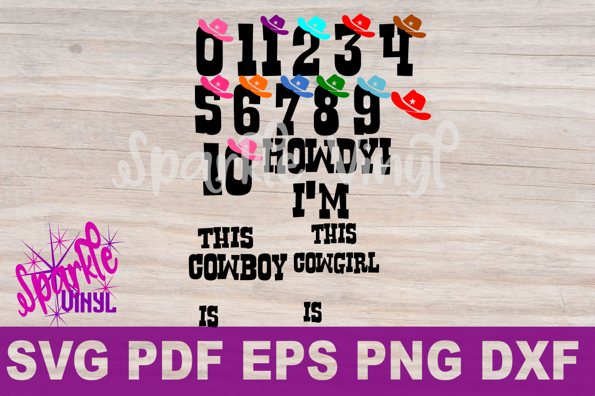 SVG Cowboy Cowgirl Birthday Party Age Numbers svg cut files for cricut or silhouette, Use Png files to create a printable, Western Numbers example image 2