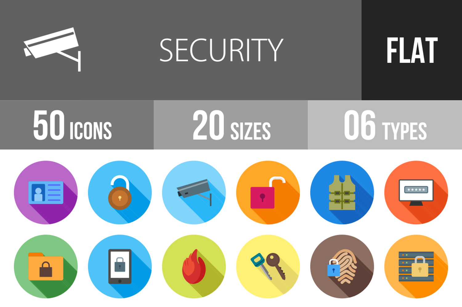 50 Security Flat Long Shadow Icons example image 1