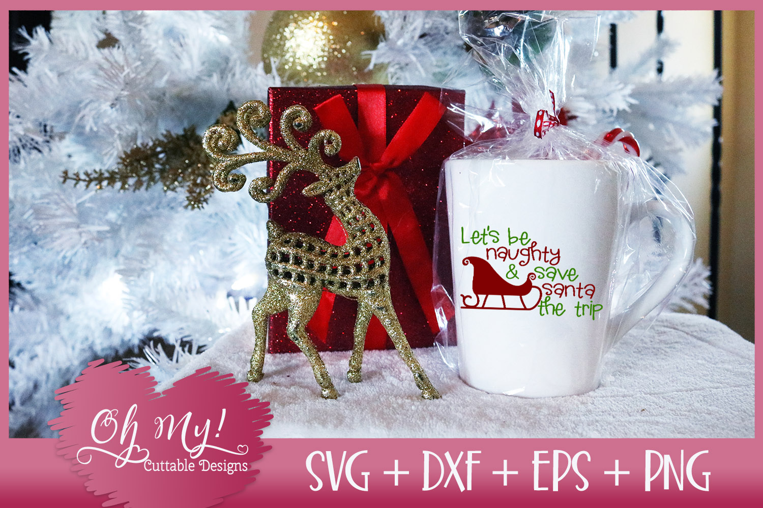 Let's Be Naughty and Save Santa The Trip - SVG EPS DXF PNG example image 4