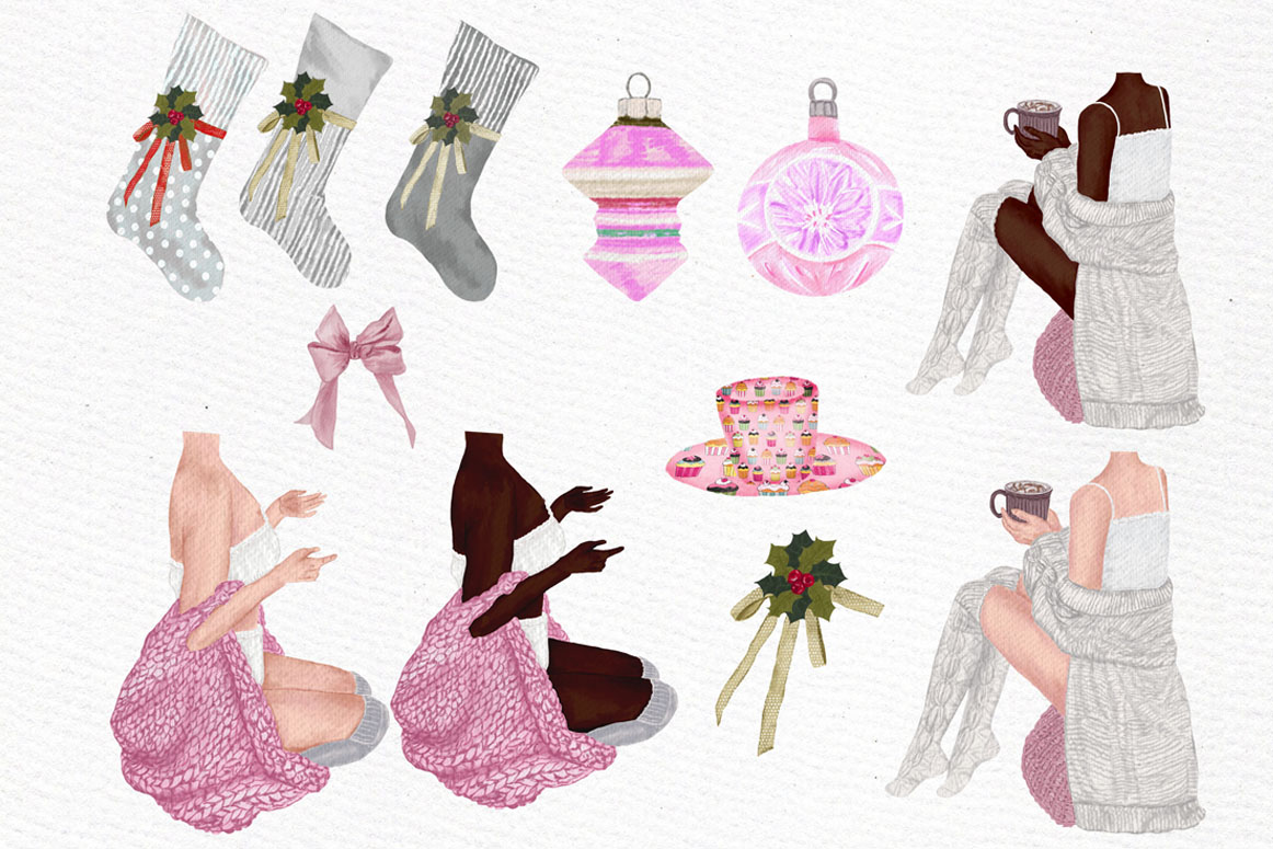 Christmas Girls Clipart, Fireplace and Stockings, Ornaments example image 6