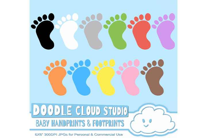 Colorful Baby FootPrints & Handprints Cliparts, Baby Hands Foot prints , Transparent / White Backgrounds, Instant Download, Commercial Use example image 3