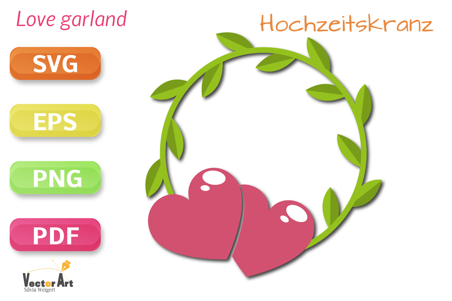 Wedding Wreath with two Hearts - SVG File for Crafters example image 1