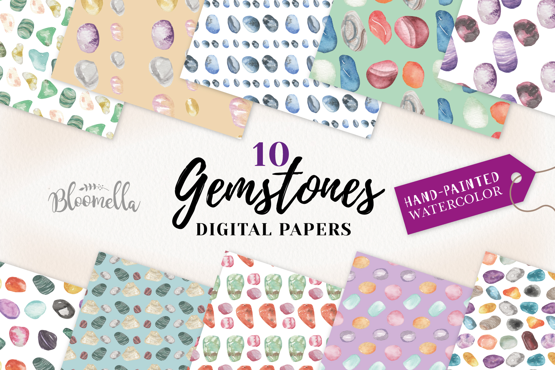 Gemstones Seamless Patterns Digital Papers Crystals Gems example image 1