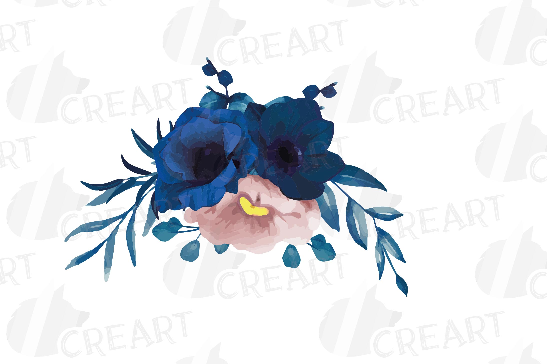 Navy blue and blush pink floral watercolor bouquets clip art example image 5