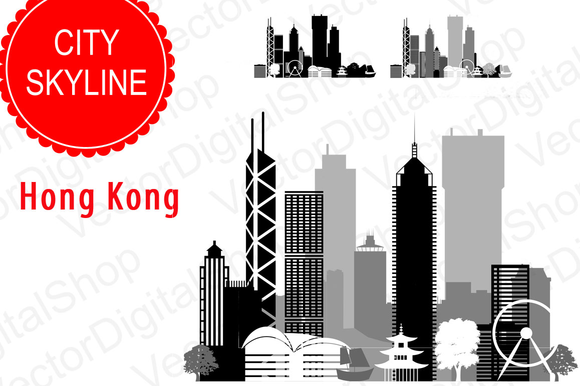 Hong Kong Vector, China Skyline city, SVG, JPG, PNG, DWG, CDR, EPS, AI example image 1
