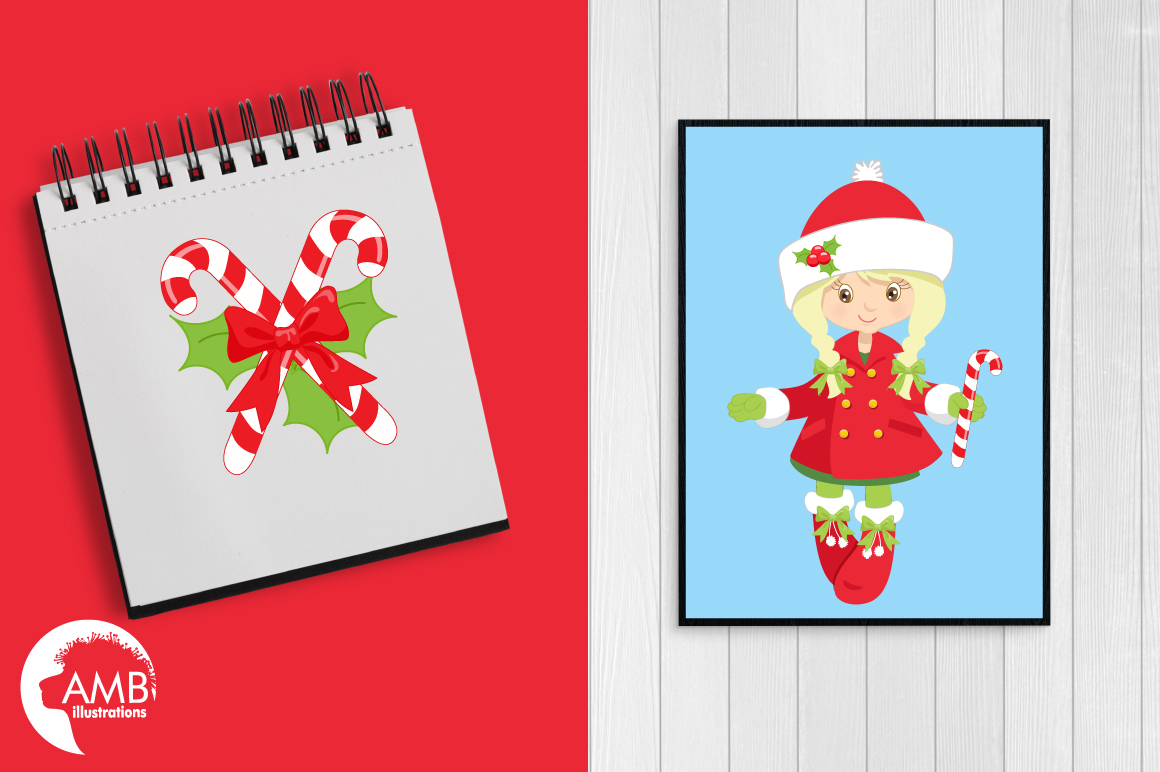 Christmas girls clipart, graphics, illustrations AMB-189 example image 2