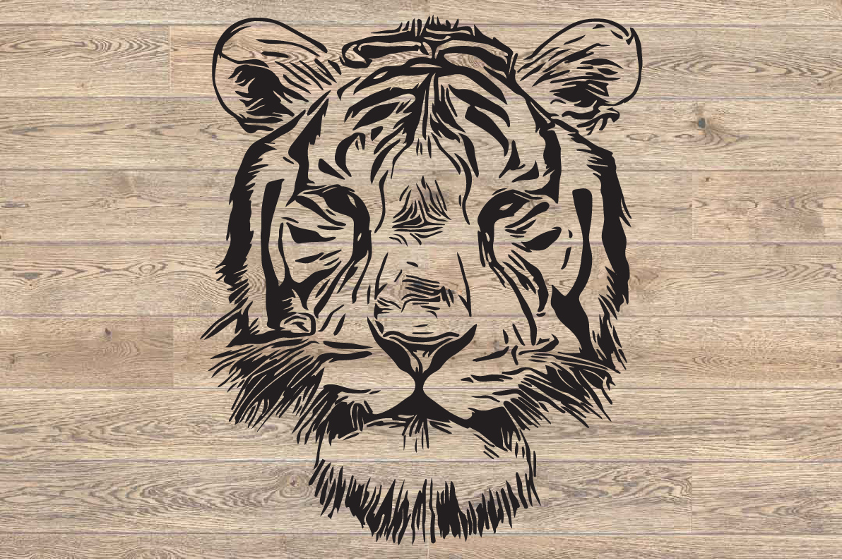 Tiger svg, Tiger Face, Stencil, Vector art, 1637s example image 2