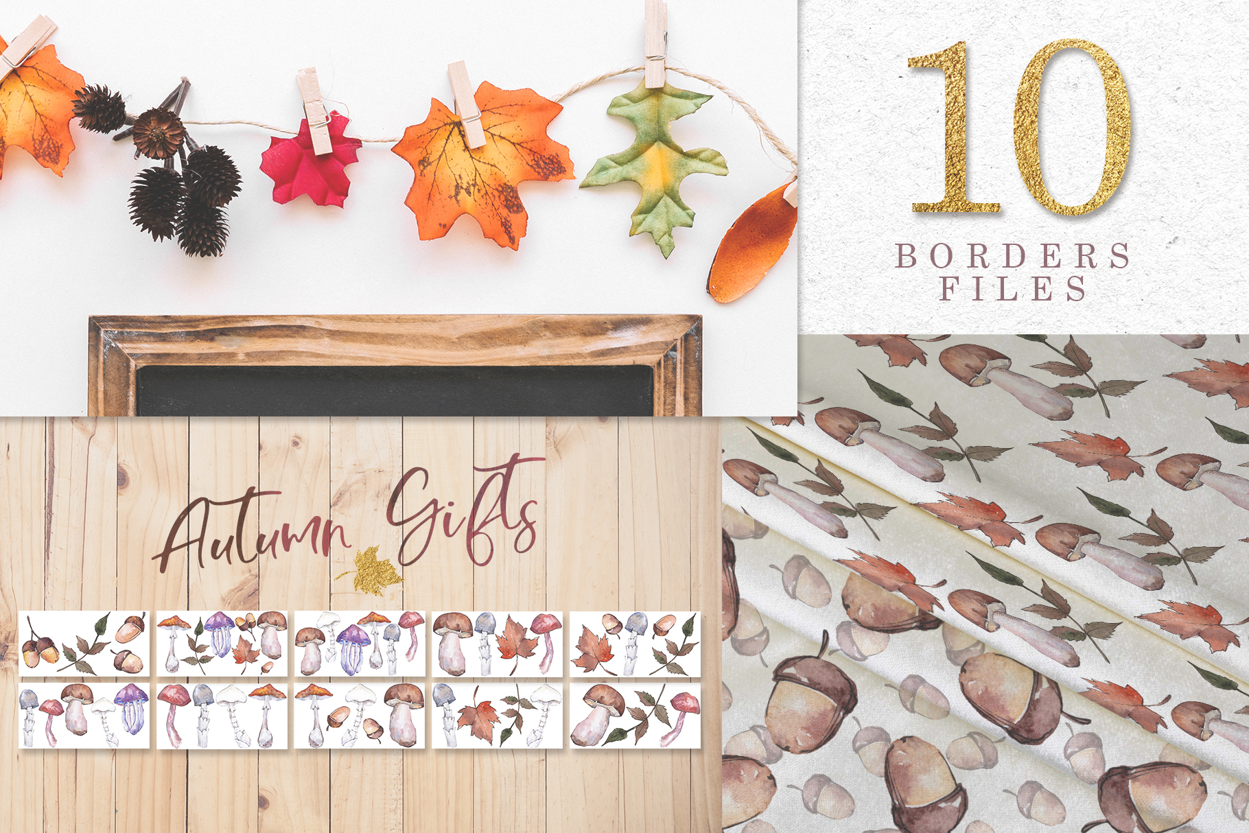 Gifts of autumn PNG watercolor set example image 8