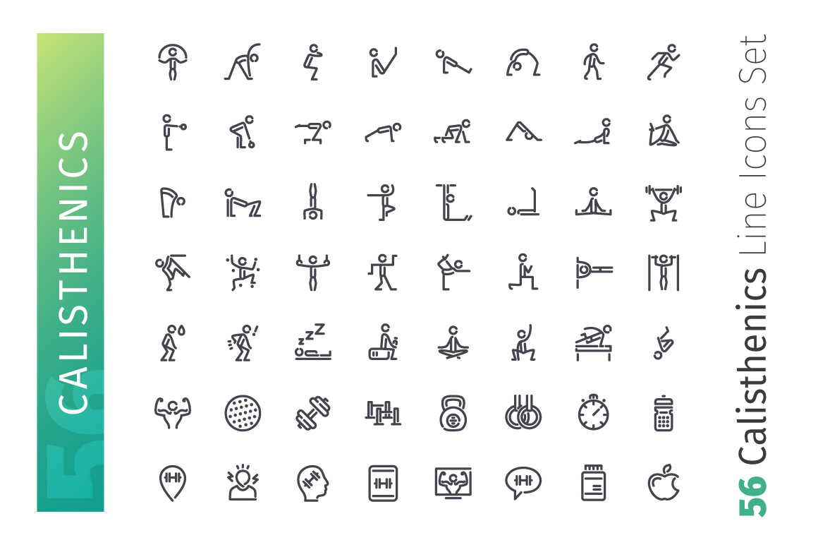 Calisthenics Line Icons Set example image 2