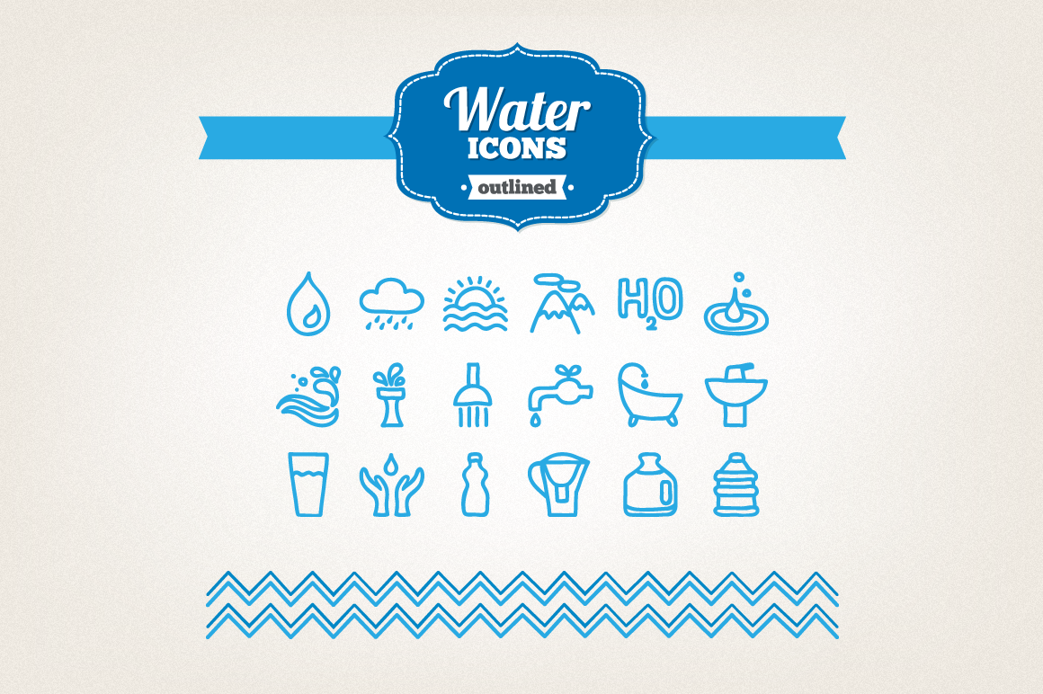 Hand Drawn Water Icons example image 1