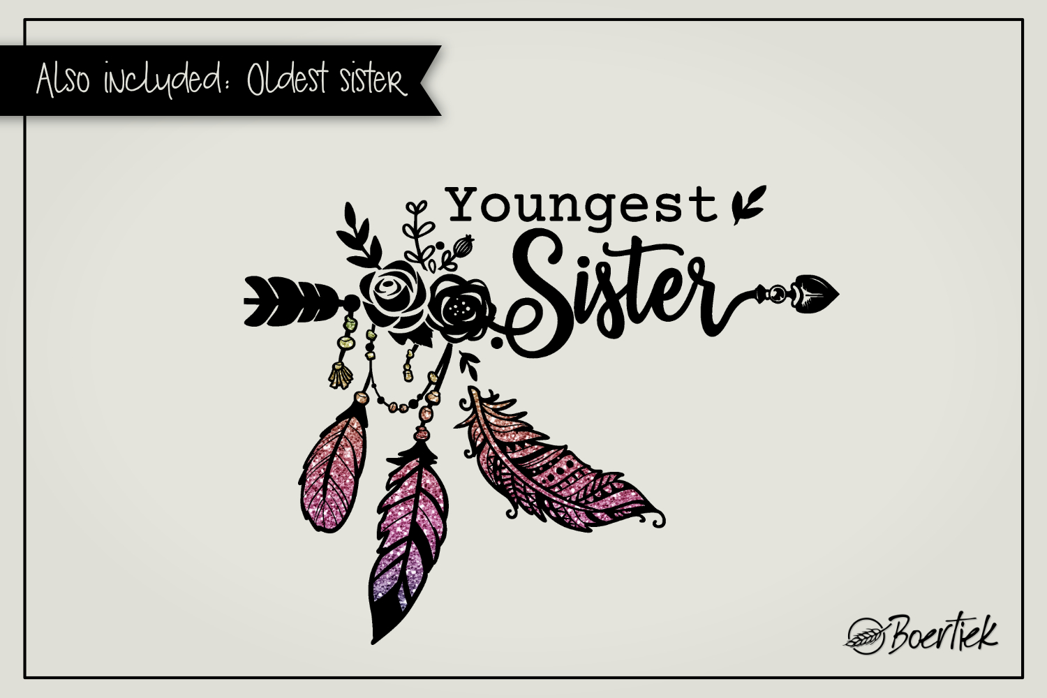 Youngest- and oldest sister, two SVG cutfiles example image 1