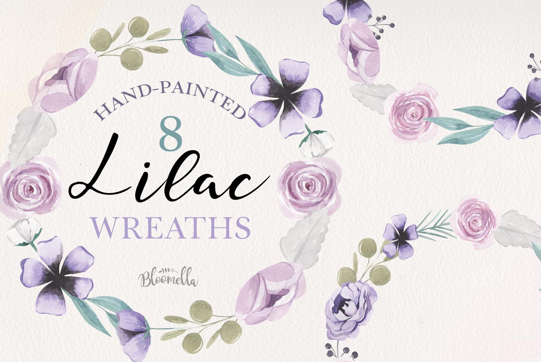 Lilac Wreaths Watercolor 8 Flowers Leaves Purple Berries example image 1