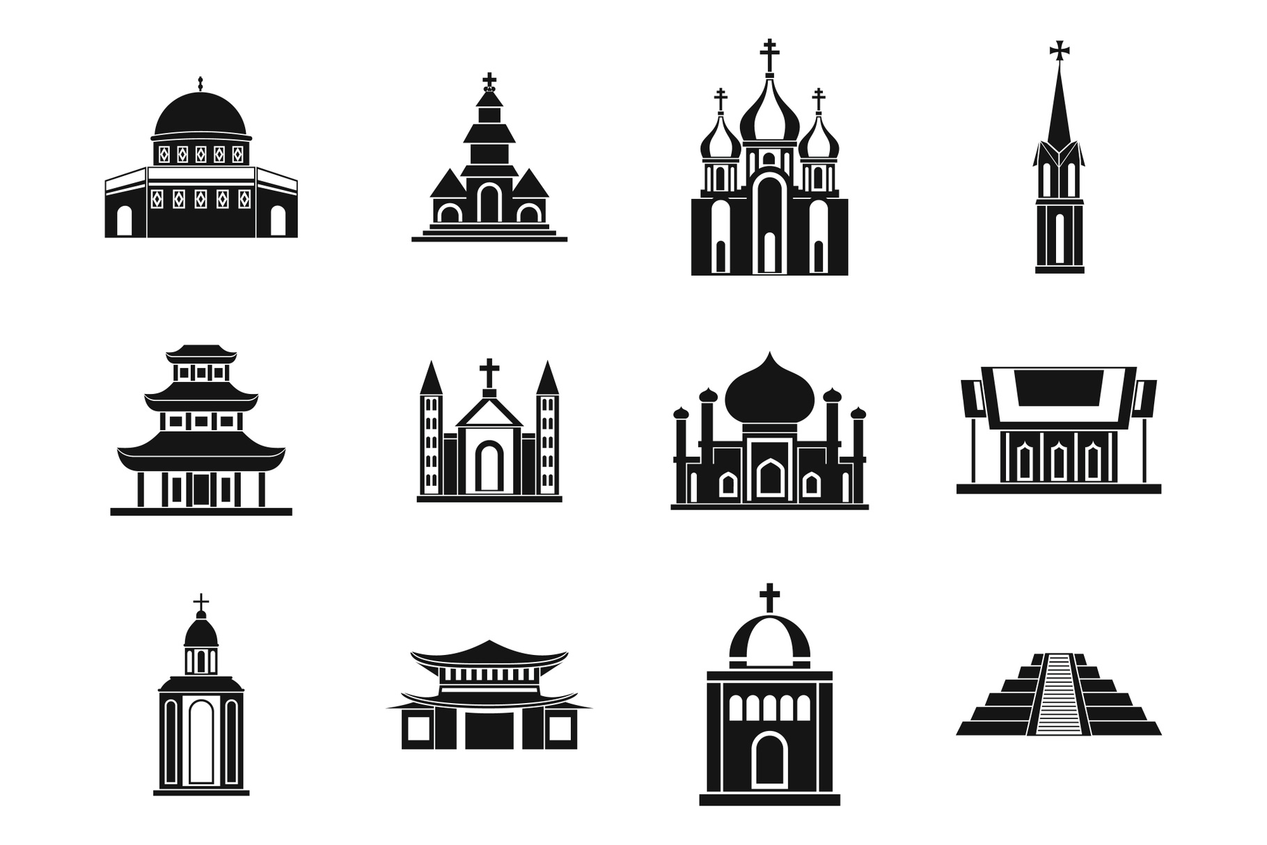 Temple icon set, simple style example image 1
