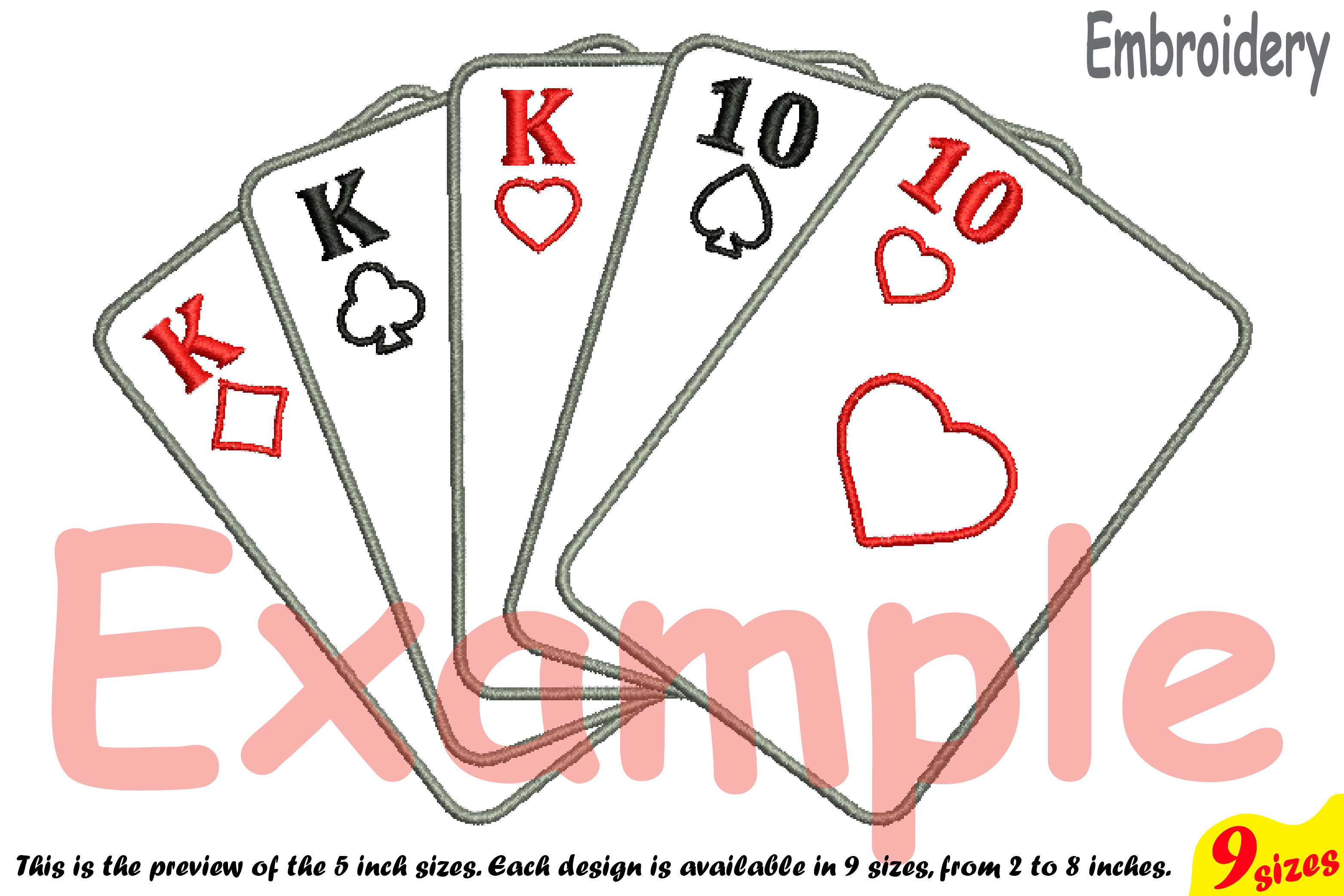 Poker Full House Designs for Embroidery Machine Instant Download Commercial Use digital file 4x4 5x7 hoop symbol sign casino las vegas 200b example image 4