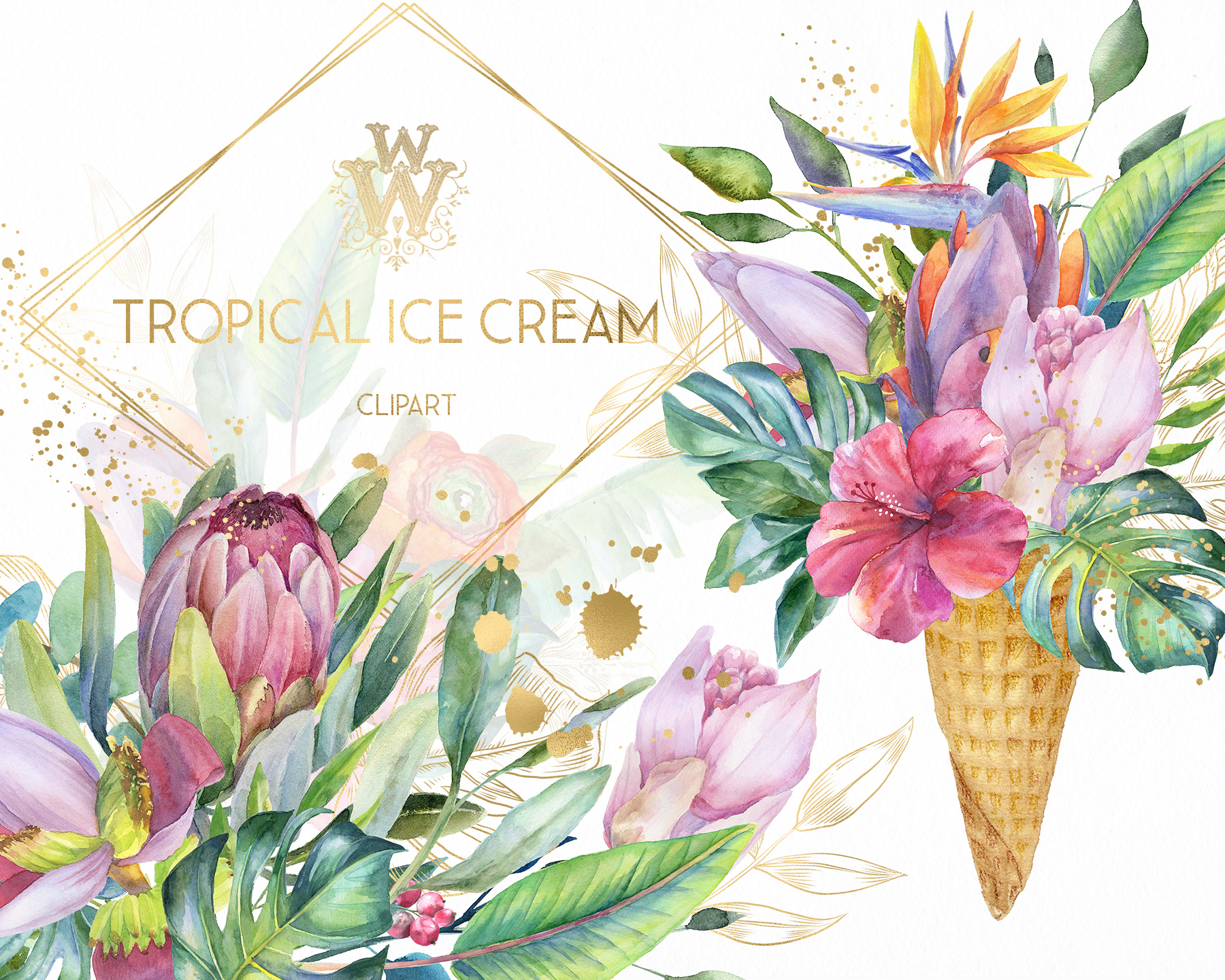 Watercolor summer tropical flower clipart, floral Ice Cream example image 10