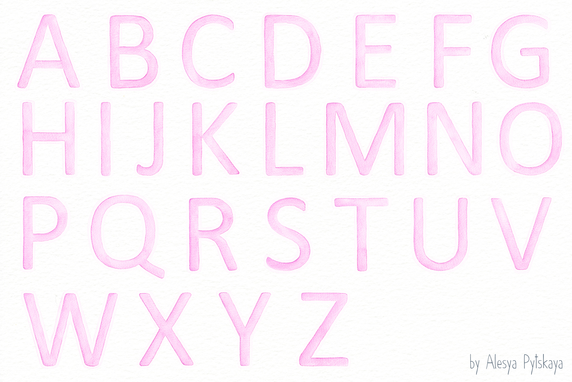 Pink Alphabet - Watercolor set example image 2
