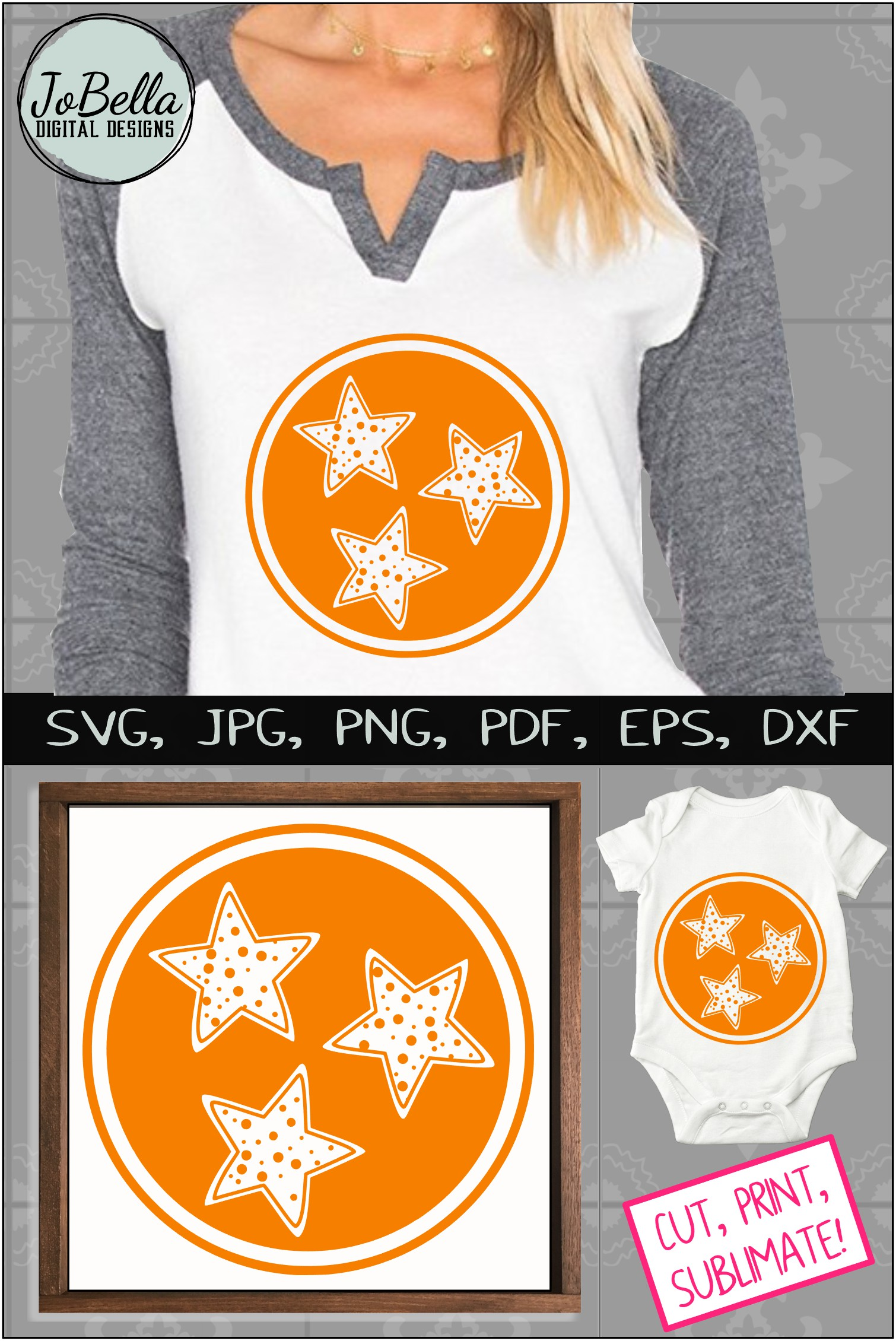Polka Dot Tennessee TriStar SVG, Sublimation PNG & Printable example image 5