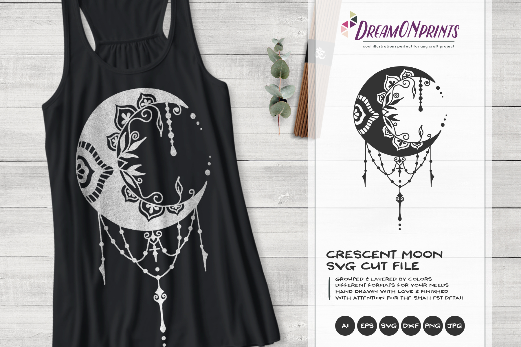 Crescent Moon SVG | Halloween SVG Cut File example image 1