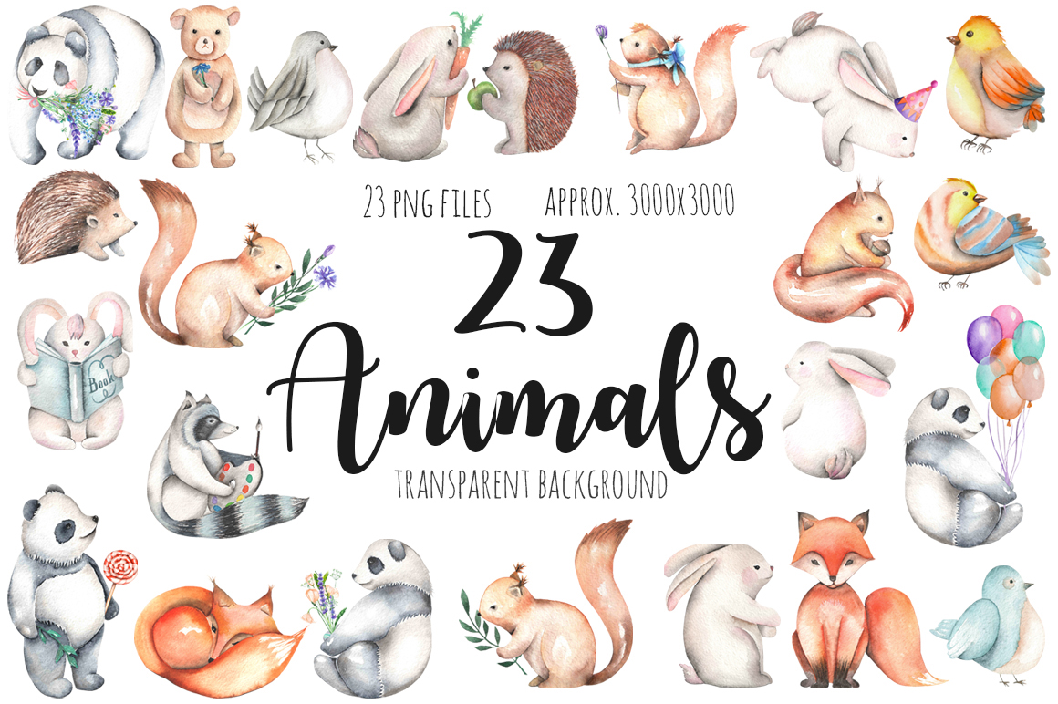 Watercolor cute Animals example image 3